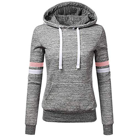 Xinantime Womens Casual Stripe Sweatshirt Long Sleeve Blouse Hooded Pocket Pullover Tops Shirt (Gray,L)