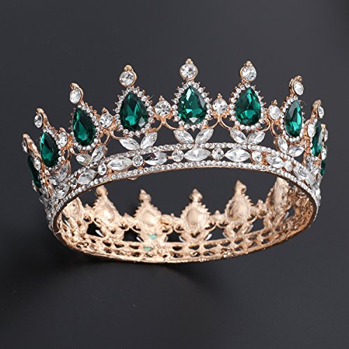 Frcolor Vintage Crystal Rhinestone Crown Crystal Queen Tiara Glittering Jewellery Decoration for Bridal Wedding Engagement(Green)