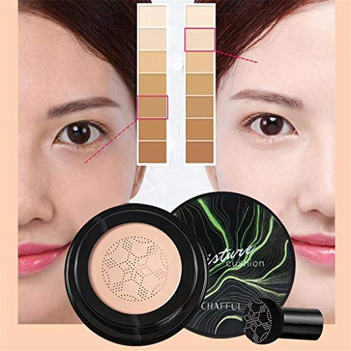 Air Cushion CC Cream Mushroom Head Foundation, SuperThinker Moisturizing BB Cream Makeup Long Lasting Matte Concealer (Natural)