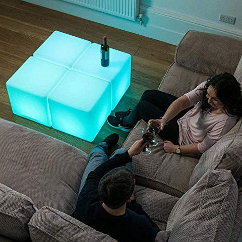 Paddia Modern LED Cube Stool Rechargeable Waterproof Colour Changing Mood Light with Remote Control, Adjustable 16RGB Colour and 4 Brightness Mood Lamp,Home Bar Pool Party Decorative Night Light