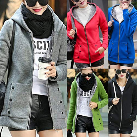 Women Hooded Coat,Jushye Winter Warm Solid Button Sweatshirt Pockets Composite Cardigan Thicker Outwear Sweater (M, Blue)