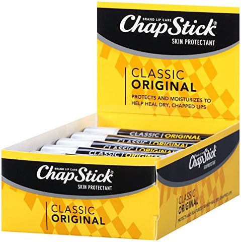 ChapStick Classic (1 Box of 12 Sticks, 12 Total Sticks, Original Flavor) Skin Protectant Flavored Lip Balm Tube, 0.15 Ounce Each