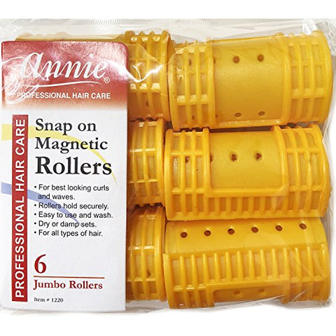 Annie Snap on Magnetic Rollers #1220, 6 Count Orange Jumbo 1-1/2 Inch (3 Pack)