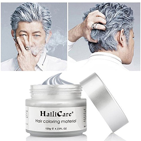 Silver Gray Temporary Hair Dye Wax 4.23 Oz, Haili Care Instant Colored Hair Color Wax, Natural Hair P