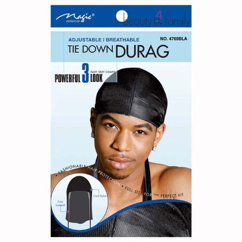 Magic Tie Down Nylon Durag Black - 2 pack