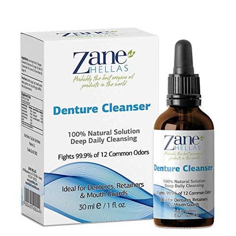 Zane Hellas Denture Cleaner. Oregano Oil Power. Ideal for Dentures, Retainers, Braces, Mouth Guards. Helps Remove Plaque, Tartar, Stains and Bad Odor. 100% Herbal Solution. 1 fl.oz.-30ml.