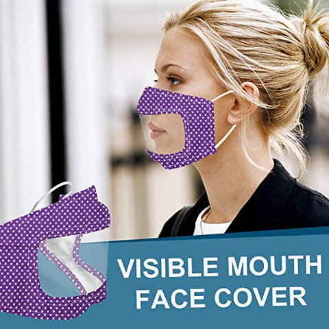 Heroky Mouth Face Bandanas,Anti Dust with Clear Window Visible Expression Mouth Scarf for The Deaf and Hard of Hearing (G, 1 PCS)