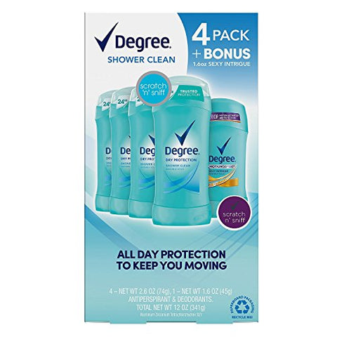 Degree Dry Protection Deodorant, Shower Clean 2.6 oz, 4 pk. + 1.6 oz. Sexy Intrigue. A1