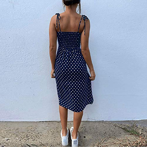HIRIRI Women's Polka Spaghetti Strap High Waist V-Neck Sundress Summer Ruffle Flare Mini Slip Dress Blue
