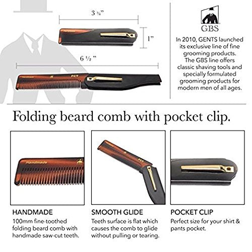 GBS Handmade Cellulose Acetate Grooming Men's Combs 2 Pack Handle Bar Comb for Mustache & All Purpose Folding Hair Comb Smooth Edge Teeth Shape Style Beard & Hair