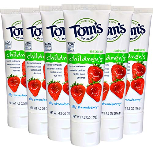 Tom's Of Maine Children's Natural Fluoride Toothpaste, Silly Strawberry 4.2 Oz (Pack Of 6)