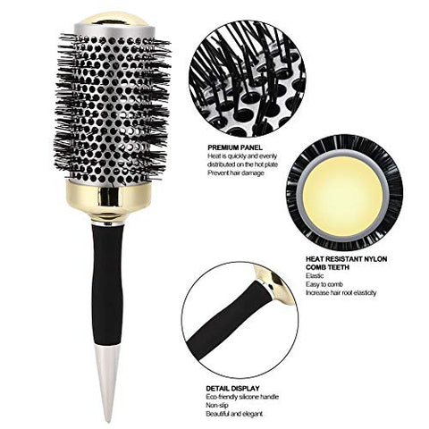 Hair Brush, Ionic Round Curling Brush, Enhance Texture for Hair Drying, Styling, Curling and Shine (L)