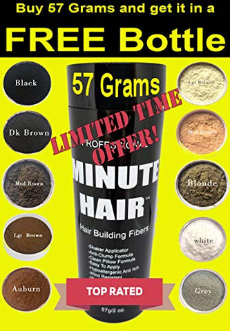 Hair Building Fibers - Buy 57 Grams (2 oz) And Get It In A FREE Refillable Shaker Bottle Hair Loss Concealer (Medium Blonde)