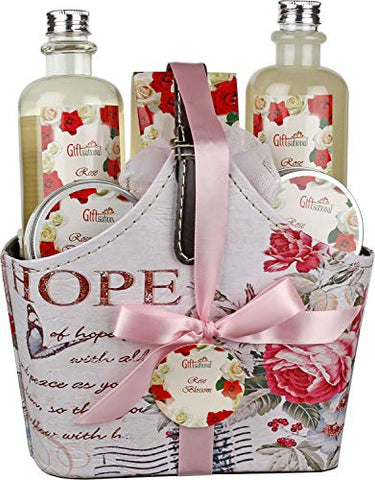 Spa Gift Basket with Refreshing Rose Blossom Fragrance, Best Valentine's Day Gift Basket, Lovely Rose Design with Stylish Belt Handle, Includes Shower Gel, Bubble Bath, Body Lotion and Much More.