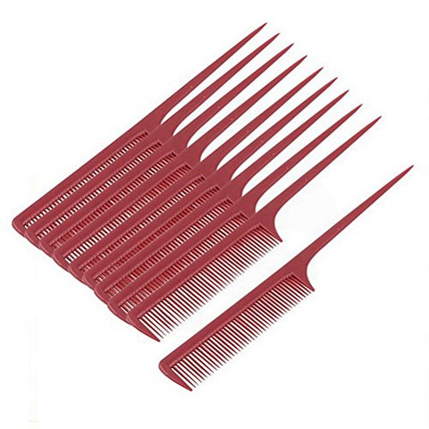 Plastic Hair Styling Toothed Pointed Rat Tail Comb Hairdresser 10pcs by Uptell
