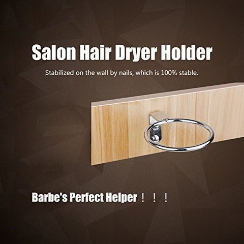 Adjustable Hair Dryer Holder, Galvanized 4.0inch Hair Dryer Holder, Hands Free Nail Mounted for Salon Bathroom Barber Home