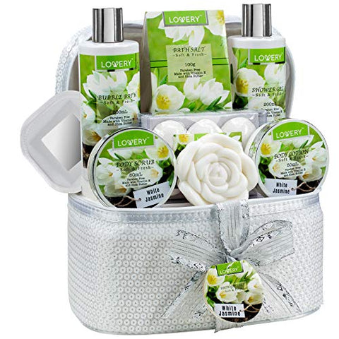Bath and Body Gift Basket for Women & Men  14 Piece Set in White Jasmine Scent - Home Spa Set with 6 Bath Bombs, Body Lotion, Rose Soaps, Hand Crafted White Sequined Cosmetics Bag and More