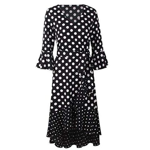 KASAAS Vintage Polka Dots Print Dress for Women Bell Sleeve V Neck Asymmetrical Hem Party Dresses with Belt(Medium,Black)