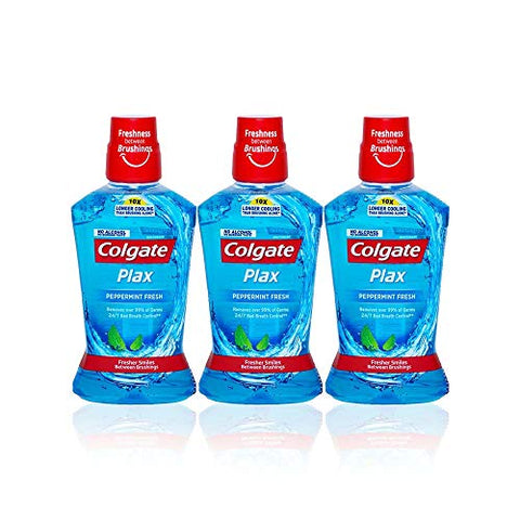 Colgate Plax Peppermint Mouthwash 500 ml Zero Alcohol (Pack Of 3)