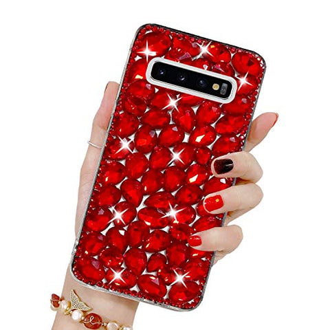 Bling Diamond Case for Galaxy S10 Plus, Mistars 3D Handmade Sparkle Glitter Crystal Rhinestone Hard PC Back Cover + Soft TPU Frame Protective Case for Samsung Galaxy S10 Plus, Red