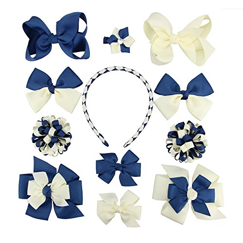 7Rainbows Girls Boutique Functional Interchangeable Hair Bow and Headband Set