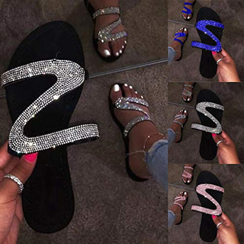 Sandals for Women Platform,2020 Crystal Rhinestone Bling Sandals Slip on Flip Flops Flat Beach Sandals Travel Shoes Blue