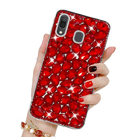 Bling Diamond Case for Galaxy A40, Mistars 3D Handmade Sparkle Glitter Crystal Rhinestone Hard PC Back Cover + Soft TPU Frame Protective Case for Samsung Galaxy A40, Red