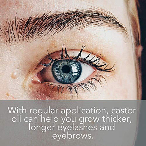 Organic Castor Oil for Eyelashes and Eyebrows with Applicator Kit, Lash & Brow Growth Serum by Pure Body Naturals, 1 Ounce