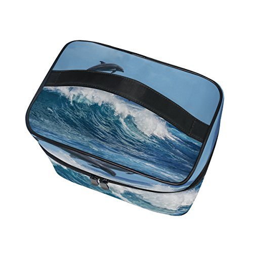 Cooper girl Ocean Wave Dolphins Cosmetic Bag Travel Makeup Train Cases Storage Organizer