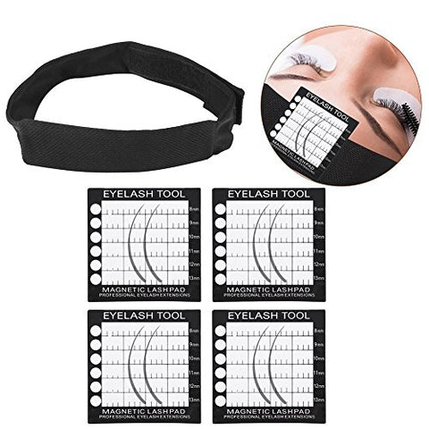 Professional Eyelash Extension Supplies, Magnetic Eyelsahes Pad Magnetic Headband Headsacrf for Eyelash Extension with 4 Lash Pad Holder