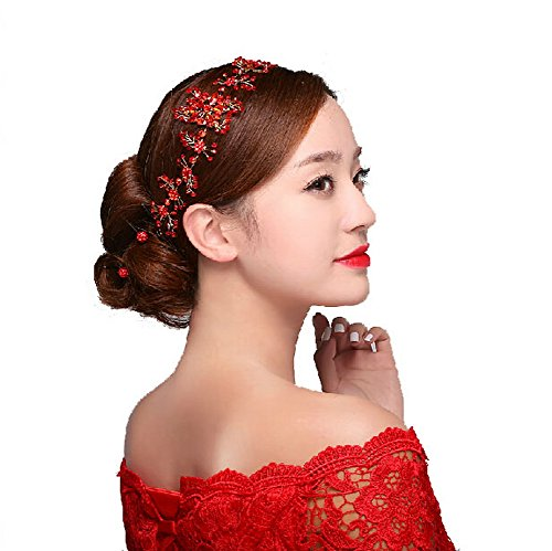 Chinese Bridal Hair Accessory Red Synthetic Gems Branch Headwear