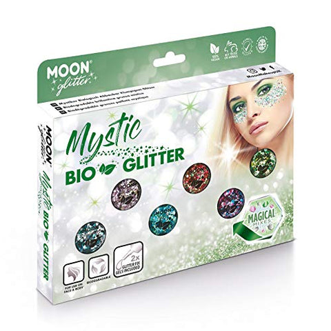 Mystic Bio Biodegradable Eco Chunky Glitter by Moon Glitter - 100% Cosmetic Bio Glitter for Face, Body, Nails, Hair and Lips - 0.10oz - Boxset