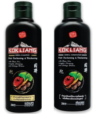 New Kokliang Hair Herbal Black Natural Darkening Thickening Shampoo 200 ml. & Conditioner 200 ml. by jawnoy