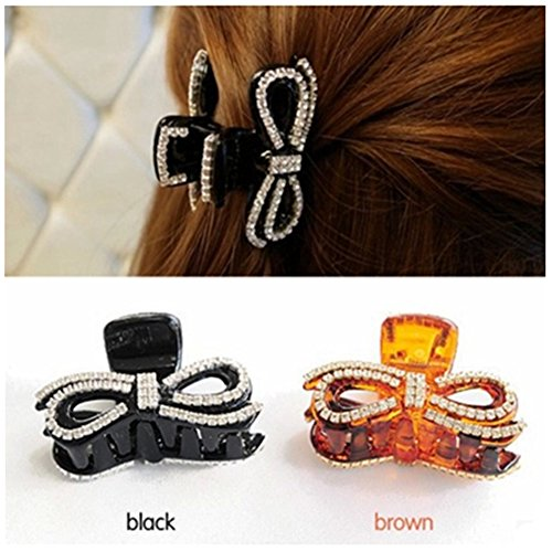Casualfashion 2Pcs Small Rhinestones Bow Hair Claws Jaw Clips Ponytail Holder for Women Girls, 2inch