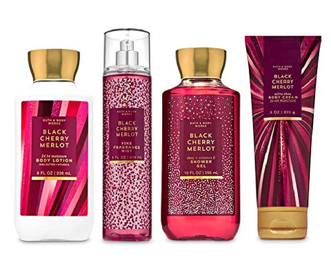 Bath and Body Works BLACK CHERRY MERLOT - Deluxe Gift Set Body Lotion - Body Cream - Fragrance Mist and Shower Gel - Full Size