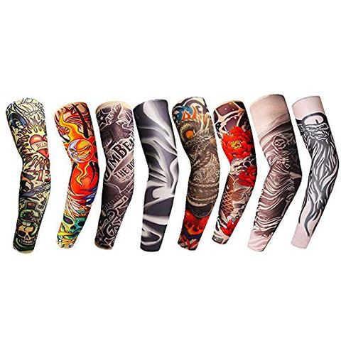 8pcs Set Arts Fake Temporary Tattoo Arm Sunscreen Sleeves