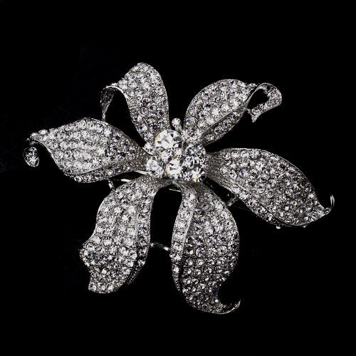 Large Rhinestone Flower Wedding Bridal Barrette - Special Occasion, Prom, Party