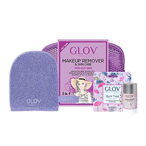 GLOV Travel Set - Yellow - Makeup Removal just With Water - Microfiber Wipe (Violet)