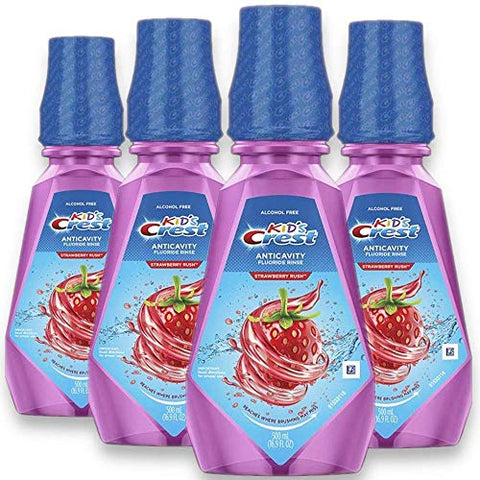 Crest Kid's Anti Cavity Alcohol Free Fluoride Rinse, Strawberry Rush, 16.9 fl oz. (Pack of 4)