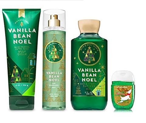 Bath and Body Work VANILLA BEAN NOEL Holiday Traditions Gift Set - Body Cream - Fine Fragrance Mist - Shower Gel & Free PocketBac Hand Sanitizers