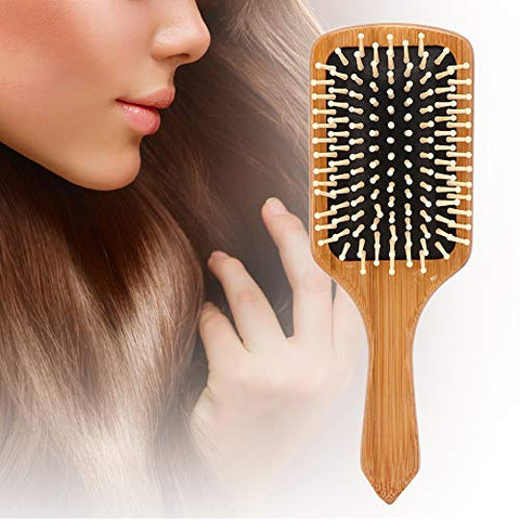 Hair Brush-Natural Wooden Bamboo Brush and Detangler Tail Comb Hair Brush Set, Paddle Hair Brushes for Women Men and Kids Make Thin Long Curly Hair Health and Massage Scalp Brush 03