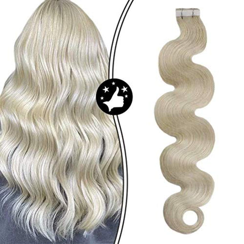 Moresoo Blonde Wave Tape in Hair Extensions Skin Weft Hair Extensions Platinum Blonde PU Tape in Real Extensions Blonde Wavy Hair Remy Soft Thick Hair 20 Inch #60 BW 50G/20pcs