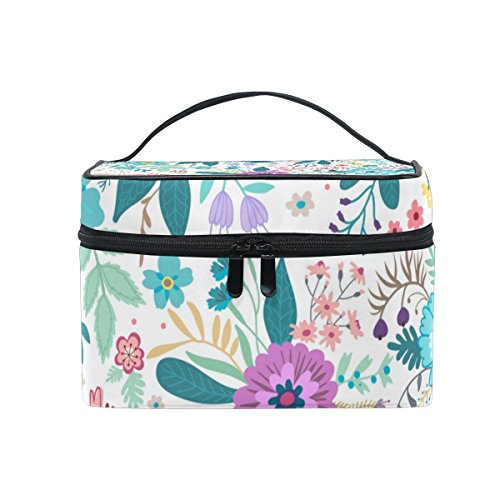 Cooper girl Natural Flowers Cosmetic Bag Travel Makeup Train Cases Storage Organizer