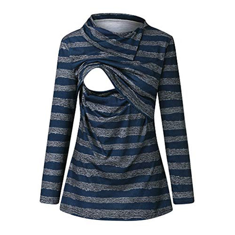 Breastfeeding Shirt Striped Patchwork Long Sleeve High Neck Maternity Breastfeeding and Nursing Tops Blue