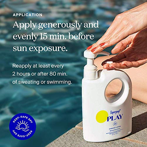 Supergoop! PLAY Everyday SPF 50 Lotion, 18 oz - Reef-Safe, Broad Spectrum Sunscreen for Sensitive Skin - Water & Sweat Resistant Body & Face Sunscreen - Clean ingredients - Great for Active Days