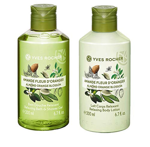 Yves Rocher Les Plaisirs Nature Relaxing Bath & Shower Gel - Almond Orange Blossom, 200 ml./6.7 fl.oz. + Yves Rocher Les Plaisirs Nature Relaxing Body Lotion - Almond Orange Blossom, 200 ml./6.7 fl.oz