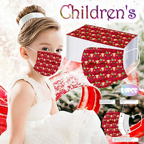 Owill 50Pcs 3 Ply Non-Woven and Breathable Face Bandanas, Cute Cartoon Face Protection, No Washable, Anti-Haze Dust, for Kids (US Stock) (Christmas Pattern C)