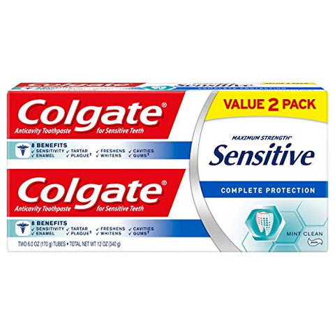 Colgate Sensitive Toothpaste, Complete Protection, Mint Clean - 6 ounce (2 Pack)