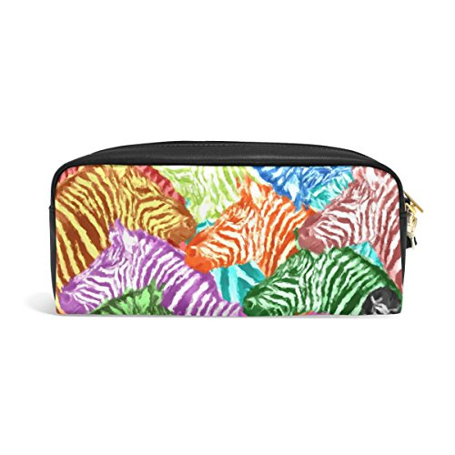 Jennifer Portable Pouch Rainbow Zebra Pattern PU Leather School Pen Case Stationary Pencil Bags Water Proof Cosmetic Bag Makeup Beauty Case