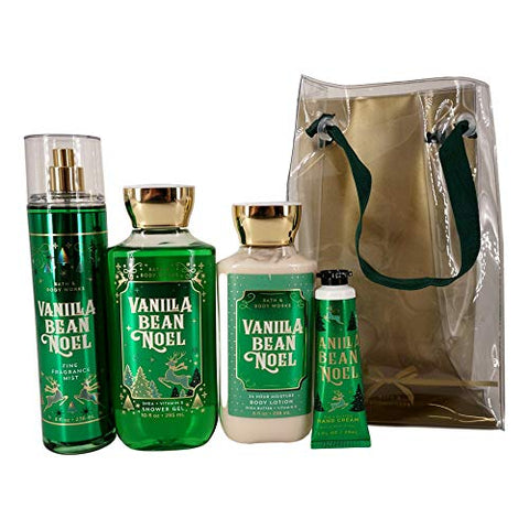 Bath and Body Works VANILLA BEAN NOEL Gift Bag Set - Body Lotion - Shower Gel - Hand Cream and Fine Fragrance Mist - Full Size